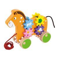 Viga Toys - Viga - 2043669 - Jouet À Tirer - Cheval Avec Engrenages En Bois