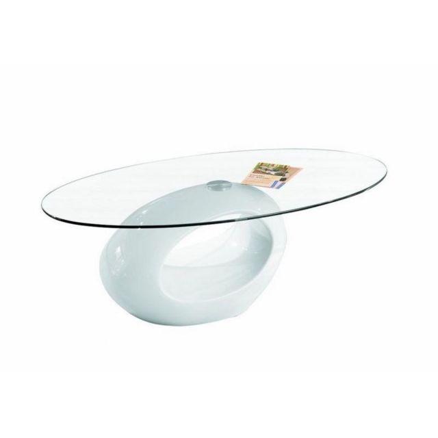 Inside 75 Table basse ovale Nigra en verre et piétement blanche