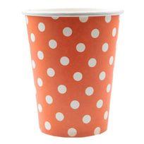 1001DECOTABLE - Gobelet orange à pois blancs x20