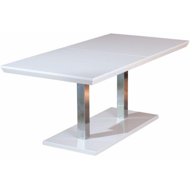 Comforium Table de salle à manger à rallonge blanc et métal