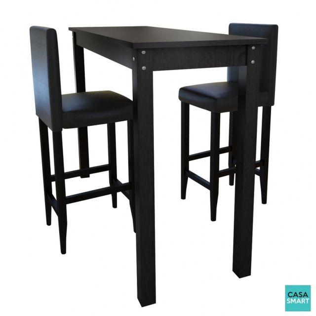 Casasmart Table haute 115 x 55 cm + 2 tabourets noir