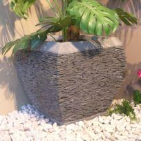 Wanda Collection - Pot bac jardinière galbé ardoise 50 cm jardin pierre naturelle