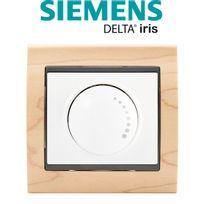 Siemens - Va et Vient Variateur 500W Blanc Delta Iris + Plaque Bois Hetre