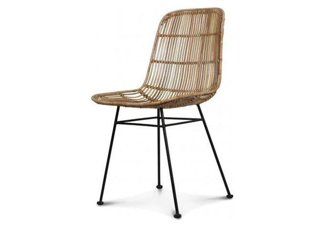 declikdeco - chaise style naturel rotin marron clair pieds métal