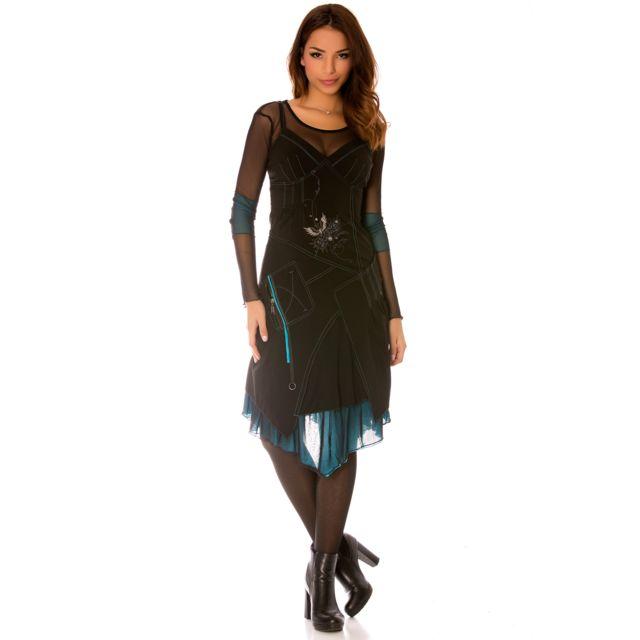 Grossiste-en-ligne - Robe noir à manches longues en tulle avec broderie, aa54534e0d12