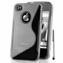 Vcomp - Housse Etui Coque souple silicone gel motif S-line pour Apple iPhone 4/ 4S/ 4G + stylet - Transparent