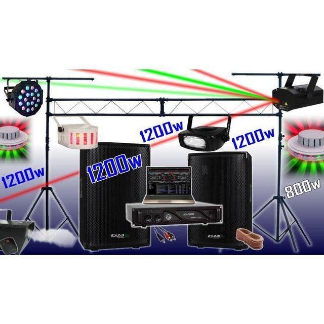 Ibiza Sound Pack sono 1200w - ampli - enceintes - 6 jeux de lumière - machine a fumée - portique de 3m - padj led