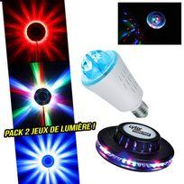 Lytor - Pack 2 jeux de lumière effet Ufo + Ampoule d'ambiance culot E27 à Leds Rvb
