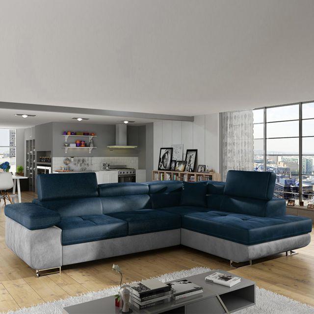 Nouvomeuble Canapé d angle droit convertible bleu et gris Willis