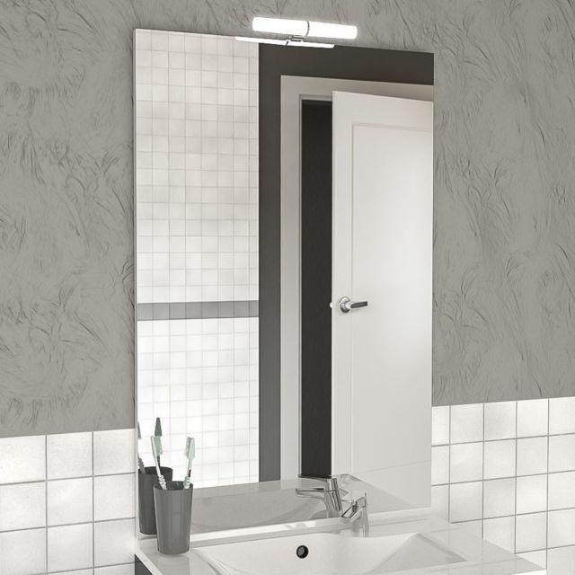 creazur miroir avec applique led mircoline 90 cm pas cher achat vente miroir de salle de. Black Bedroom Furniture Sets. Home Design Ideas