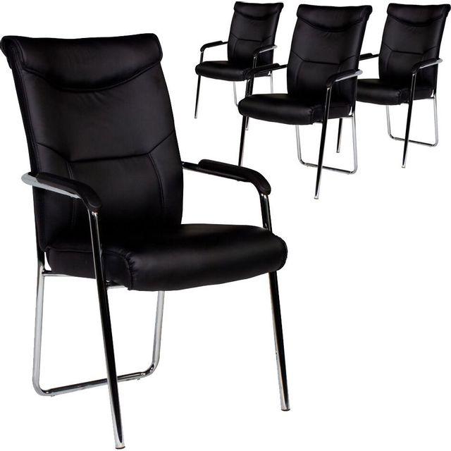 Comforium Lot de 4 chaises ultra modernes pvc noir et pieds acier chromé