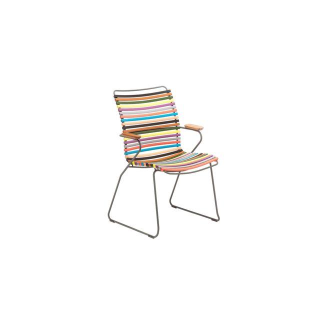 Chaise à accoudoirs Click Dining avec dossier haut multicolore