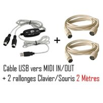 Cabling - Cable Adaptateur Interface - Convertisseur Usb / Midi In - Midi Out Mac / Pc + deux rallonges clavier Ps2 2 mètres