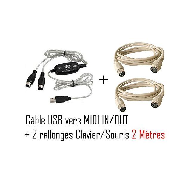 Cabling - Midi Cable Usb pour clavier musical Windows Xp Vista et Mac Os X adaptateur compatible pour ordinateur portable de musique In-Out Interface + 2 rallonges Ps2 2 mètres