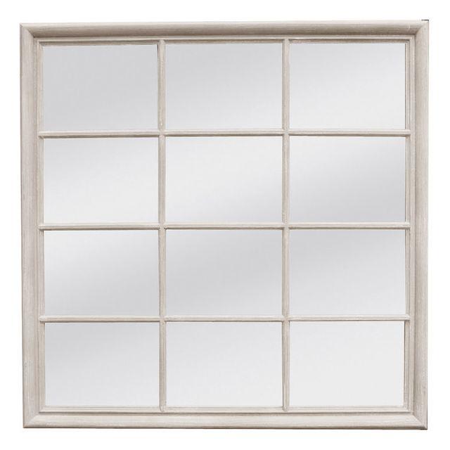 Mathilde Et Pauline Miroir carré en bois crème patiné 9 fenêtres 120x120cm Victor