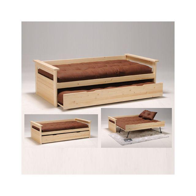 no name banquette gigogne tolede 90x190 tiroir avec pieds pliants 2 sommiers vernis. Black Bedroom Furniture Sets. Home Design Ideas
