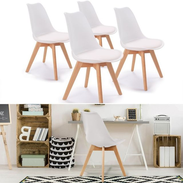 idmarket chaises x4 sara blanches pour salle manger. Black Bedroom Furniture Sets. Home Design Ideas