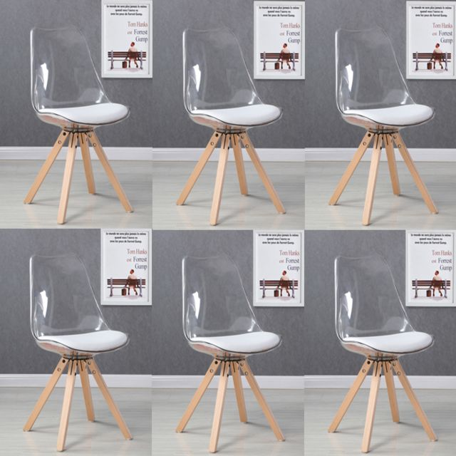 oneboutic lot de 6 chaises scandinaves transparentes helsinki - Chaises Scandinaves Transparentes