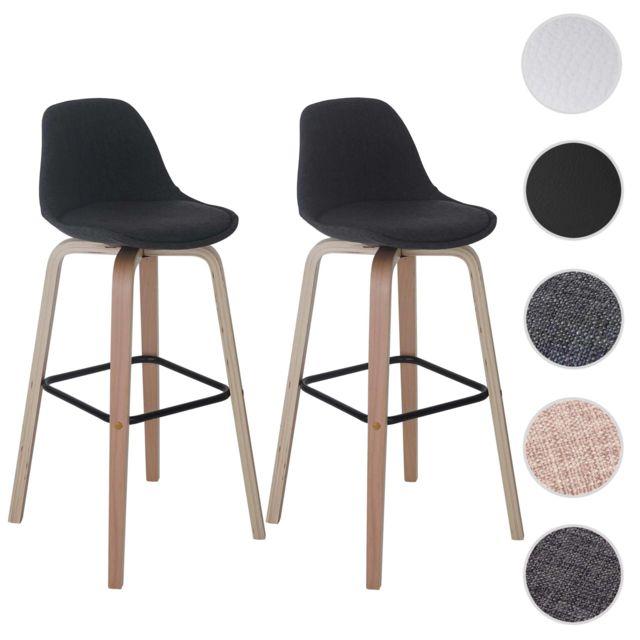 Mendler 2x tabouret de bar palmdale chaise de comptoir avec dossier tissu gris fonc pas for Chaise de bar avec dossier