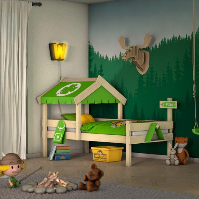 WICKEY Lit en bois pour enfant CrAzY Buddy Lit simple