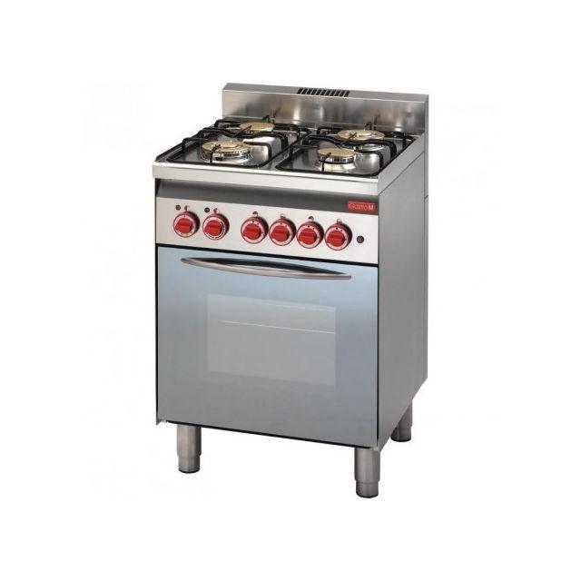 Gastro M Piano de cuisson à gaz 4 brûleurs - four à gaz gril électrique porte vitrée 600