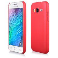 Kabiloo - Coque rigide Leather-Look aspect cuir coloris rouge pour Samsung Galaxy J1