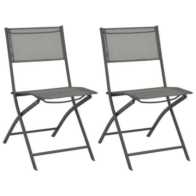 Chaises de jardin pliables 2 pcs Acier et textilène | Gris Sièges d'extérieur Chaises d'extérieur | Gris | Gris
