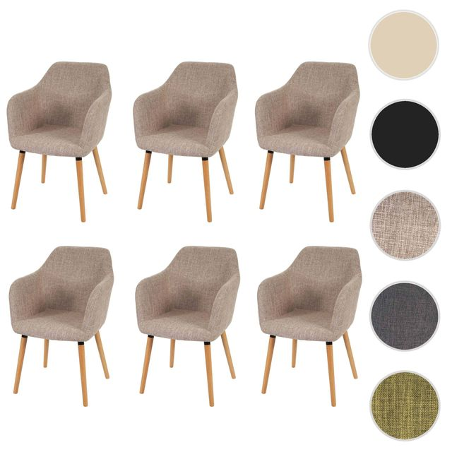 mendler 6x chaise de s jour salle manger malm t381 style r tro des ann es 50 tissu. Black Bedroom Furniture Sets. Home Design Ideas