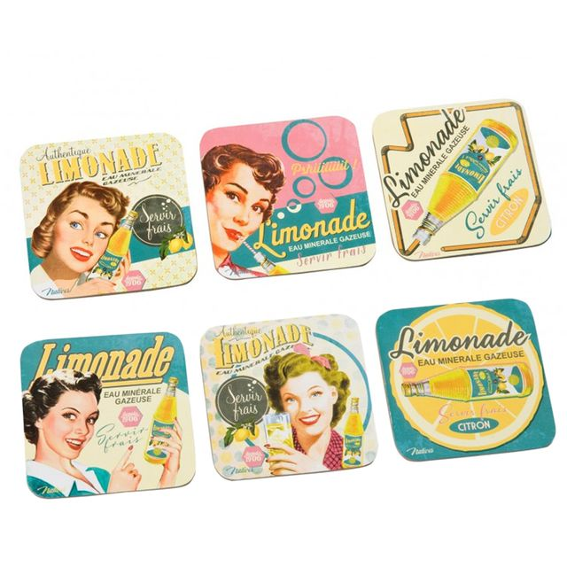 Natives Set de 6 sous-verres Limonade