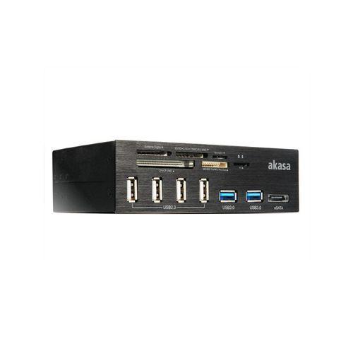 AKASA - Lecteur de cartes mémoires 5,25'' - 2x USB 3.0/4x USB 2.0/1x eSATA