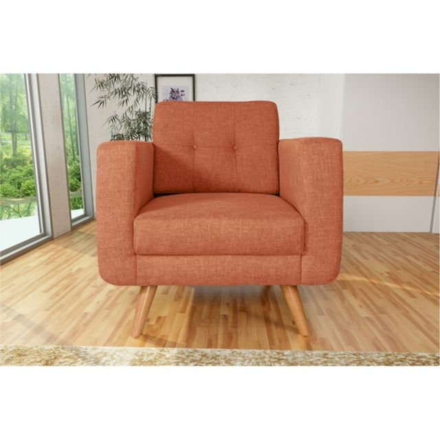 Rocambolesk Fauteuil Hedvig 1 savana orange 18 pieds naturels sofa divan
