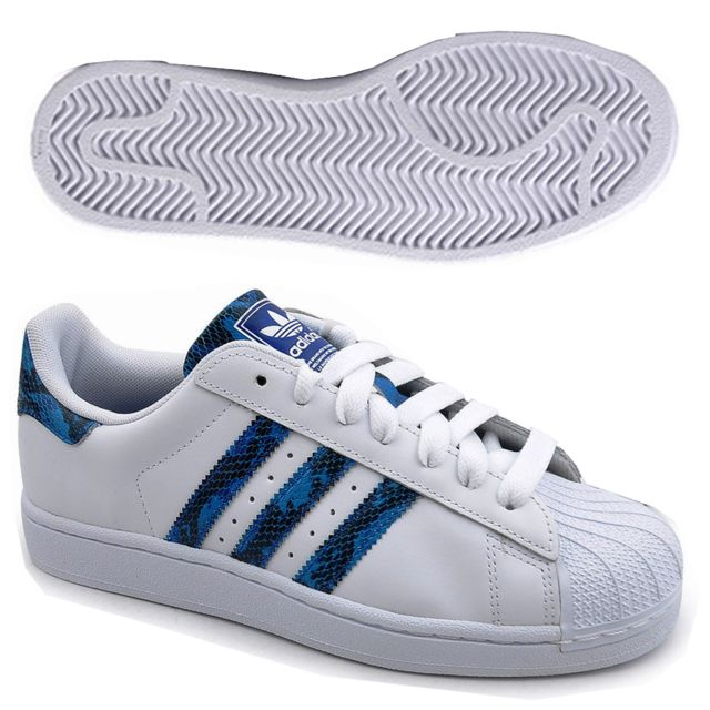 basket adidas original homme blanc bleu