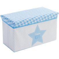promobo banc pouf double idal coffre de rangement a jouet enfant dcor etoile bleu - Coffre A Jouets Banc