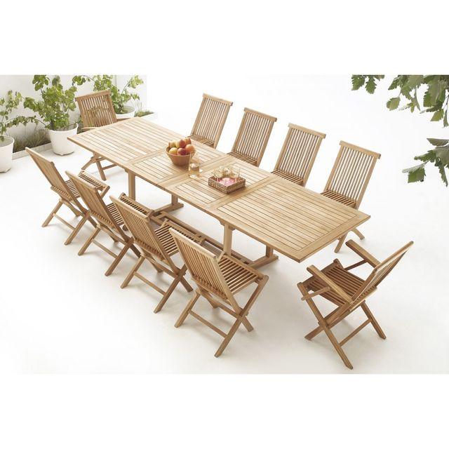 Bobochic Table rectangle 8 chaises + 2 fauteuils Teck Brut Massif