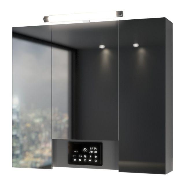 Armoire De Toilette Avec Led Opty 3 Portes 80 X 77 5 Cm