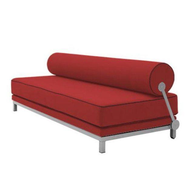 Inside 75 Canapé lit convertible design Sleep en tissu coton rouge structure aluminium Softline