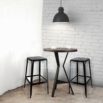 The Concept Factory - Tabouret de bar Metalica noir lot de 2