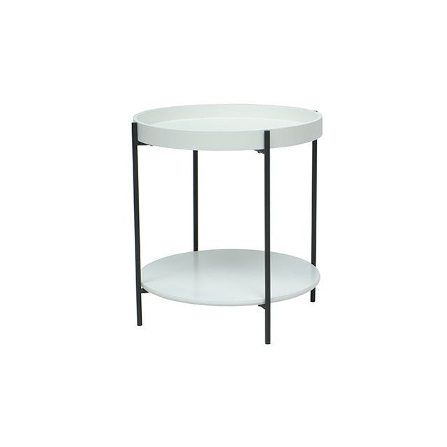Table basse 2 plateaux 46diam blanc