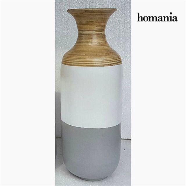 Homania Vase bambou gris blanc by