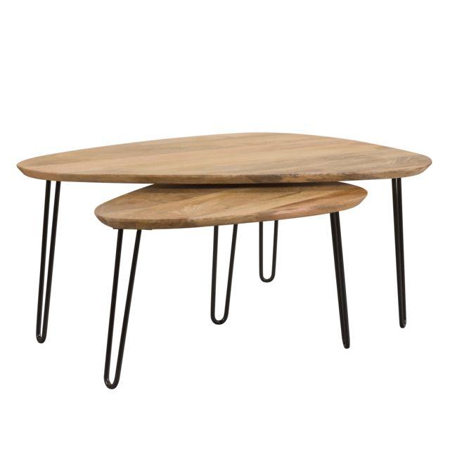 Rendez Vous Deco Table basse gigogne Kiwi en bois lot de 2