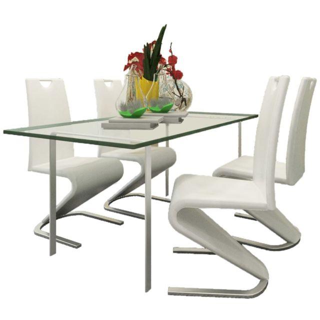 Sans Marque Chaise en simili cuir Cantilever avec pieds en forme de U Blanc 4 pcs