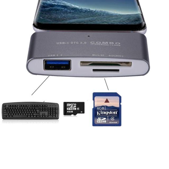 carte sd pour tablette Wewoo   Pour tablette, Smartphone, Pc 3 en 1 Usb c / Type C à Usb
