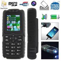 Yonis - Téléphone mobile tout terrain waterproof antichoc lampe torche Noir