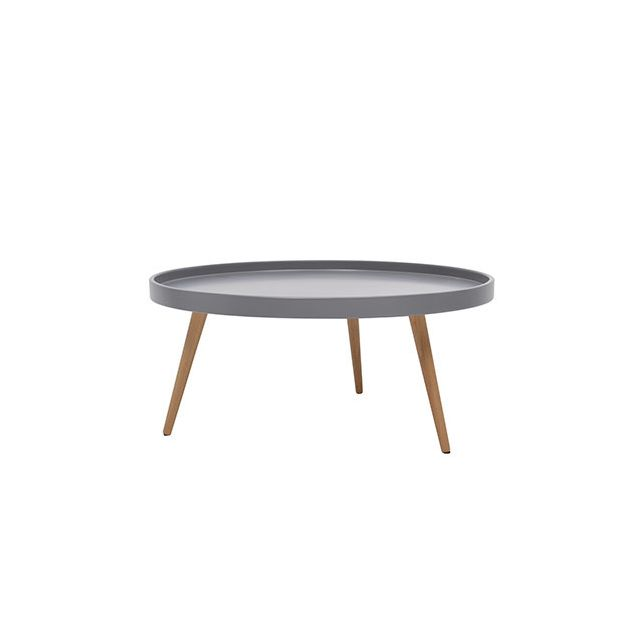 Table basse ronde 80diam en bois gris
