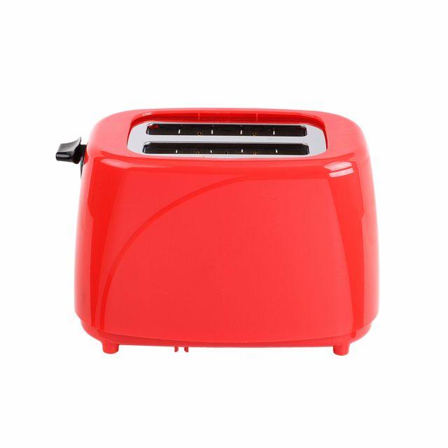 DOMOCLIP Grille-pain rouge noir DOD150RN Grille-pain - Fonctions arrêt manuel, réchauffage et décongélation - Thermostat réglable : 5 positions - Éjection automatique - Tiroir ramasse-miettes