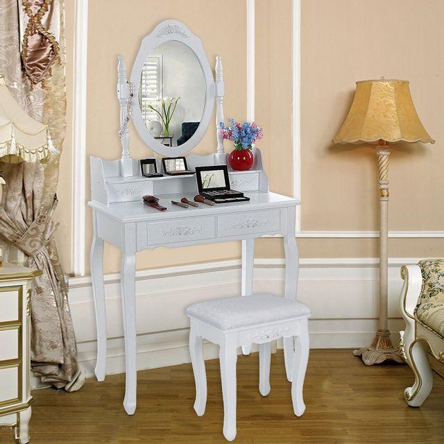 Rocambolesk Superbe Coiffeuse blanche table de maquillage avec miroir et tabouret 4 tiroirs 145 x 75 x 40 cm Rdt77F neuf