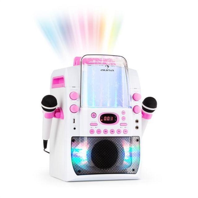 AUNA Kara Liquida BT Chaîne karaoké Jeu de lumières Fontaine d'eau Bluetooth - blanc/rose