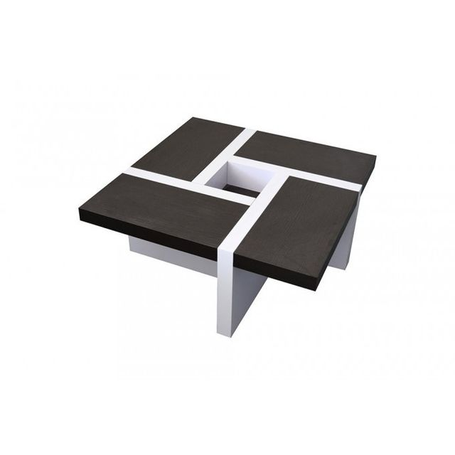 Mobili Rebecca Table Basse Carre Bois Marron Blanc Design Contemporain Salon Sejour