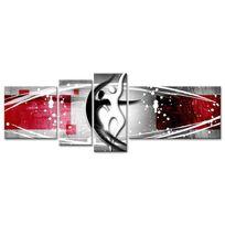 Hexoa - Tableau multi panneaux abstrait Dance 130x65 cm rouge