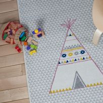 Art For Kids - Tipi Bleu et rose rectangle tapis chambre bebe par - Couleur - Bleu, Taille - 100 x 150 cm